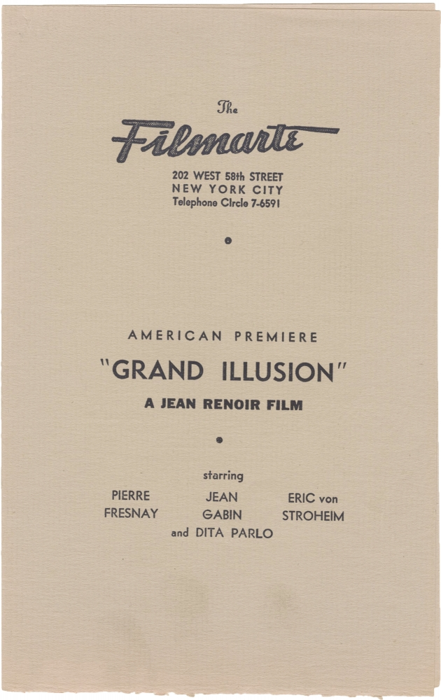 La Grande Illusion [The Grand Illusion]. Jean Renoir, Charles Spaak, Dita Parlo Jean Gabin, Erich von Stroheim, Pierre Fresnay, screenwriter director, screenwriter, starring.