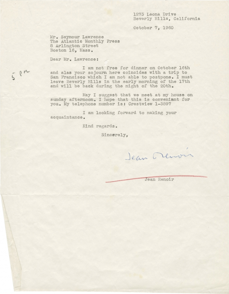 Collection of three typed letters signed to Seymour Lawrence, 1960-1961. Jean Renoir.