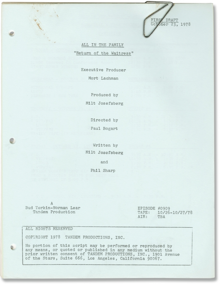 All in the Family: Return of the Waitress. Norman Lear, Bud Yorkin, Phil Sharp Milt Josefsberg, Jean Stapleton Carroll O'Connor, Danielle Brisebois, developer creator, developer, screenwriters, starring.