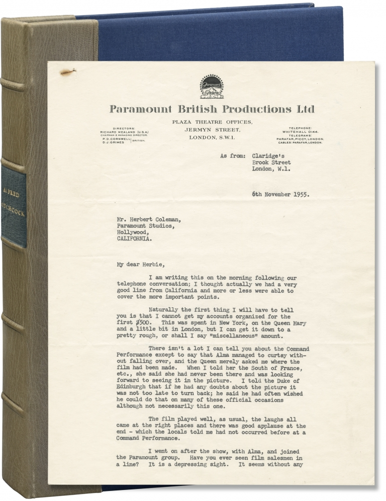"""Original typed letter signed from Alfred Hitchcock to assistant director Herbert Coleman, regarding """"To Catch a Thief,"""" """"The Trouble with Harry,"""" and other matters. Alfred Hitchcock."""