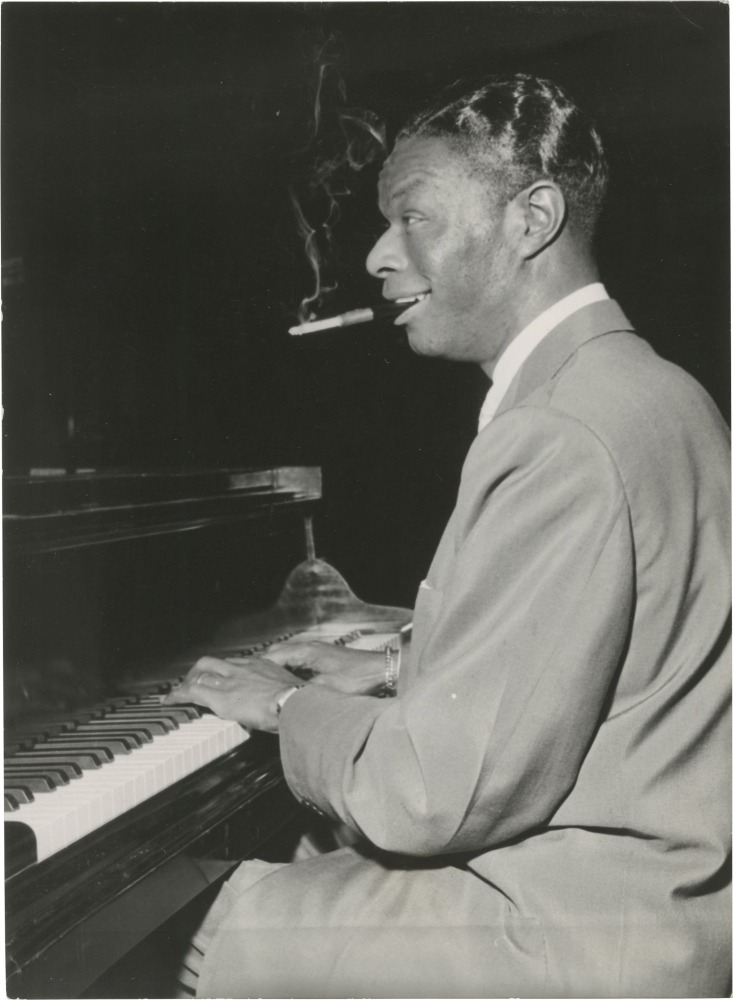 Original photograph of Nat King Cole at the piano, 1956. Nat King Cole, subject.