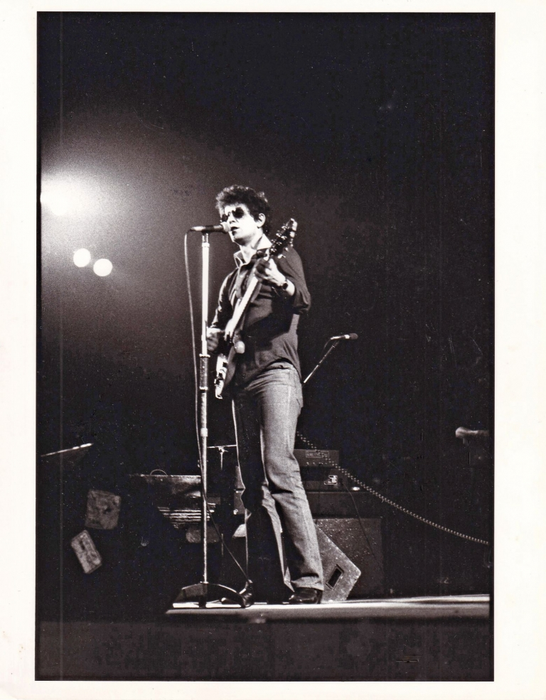 Original photograph of Lou Reed in performance, circa 1978. Lou Reed, Elaine Bryant, subject, photographer.