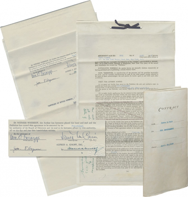 """Original Book Contract for """"Our Government,"""" signed by Cain and Knopf. James M. Cain, Alfred A. Knopf."""
