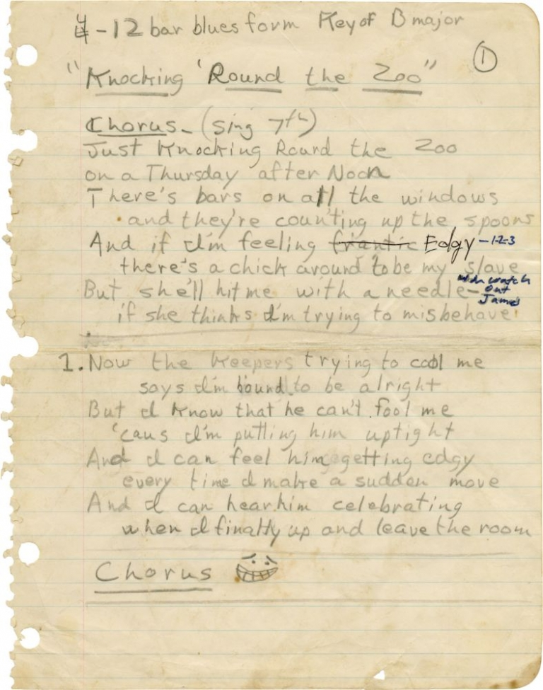 "Original manuscript for ""Knocking 'Round the Zoo"" James Taylor."