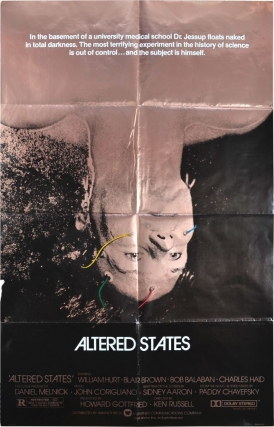 Altered States (Original poster). Paddy Chayefsky, Ken Russell, Blair Brown William Hurt, novel, director, starring.