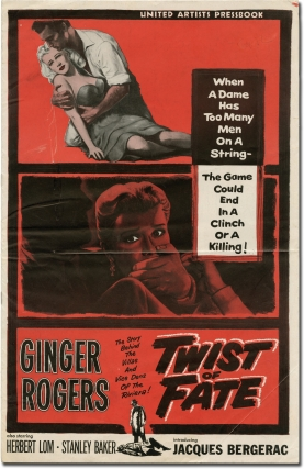 Twist of Fate [Beautiful Stranger] (Original Film Pressbook). David Miller, Robert Westerby, Carl Nystrom, Jacques Bergerac Ginger Rogers, Stanley Baker, director, screenwriter, starrring.
