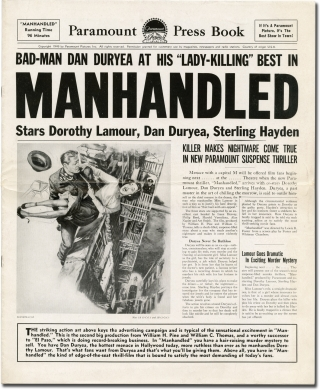 Manhandled (Original Film Pressbook). Lewis R. Foster, Whitman Chambers, L S. Goldsmith, Sterling Hayden Dorothy Lamour, Dan Duryea, screenwriter director, screenwriter, story, starring.