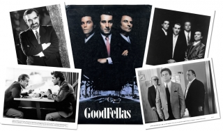 Goodfellas (Original press kit for the 1990 film). Martin Scorsese, Nicholas Pileggi, Joe Pesci Robert De Niro, Lorraine Bracco, Paul Sorvino, Ray Liotta, screenplay director, novel, starring.
