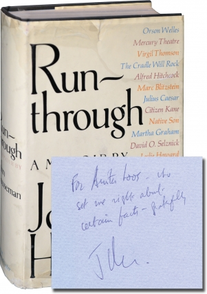 Run-through: A Memoir (First Edition, Inscribed to Anita Loos). John Houseman