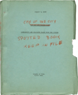 Cry of the City [The Law and Martin Rome, The Chair for Martin Rome] (Post-production script for...