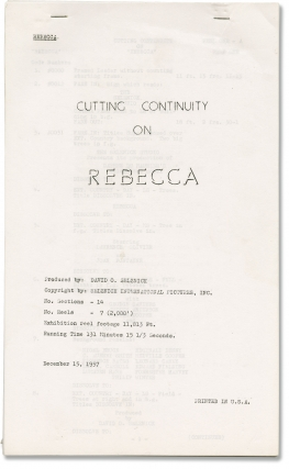 Rebecca (Post-production script for 1957 re-release of the 1940 film). Alfred Hitchcock, Daphne...