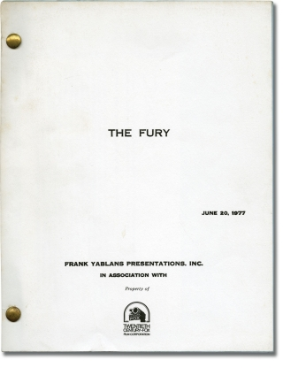 The Fury (Original screenplay, plus four sets of revision pages). Brian DePalma, John Farris,...