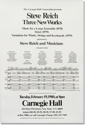 Three New Works: Music for a Large Ensemble (1978), Octet (1979), Variations for Winds, Strings and Keyboards (1979) - Carnegie Hall 1980 (Original Poster). Steve Reich, Steve Reich and Musicians.