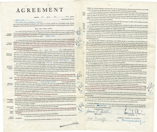 "Original Book Contract for ""Mildred Pierce,"" signed by Cain and Knopf"