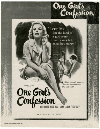 One Girl's Confession (Original Film Pressbook). Hugo Haas, Glenn Langan Cleo Moore, screenwriter director, starring, starring.