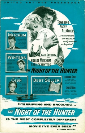 The Night of the Hunter (Original Film Pressbook). Davis Grubb, Charles Laughton, James Agee, Shelley Winters Robert Mitchum, Lillian Gish, novel, director, screenwriter, starring.