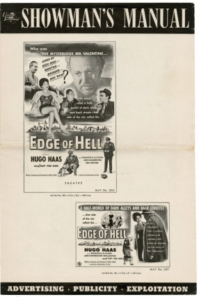 Edge of Hell (Original Film Pressbook). Hugo Haas, June Hammerstein Francesca de Scaffa, Ken Carlton, director producer, screenwriter, starring.