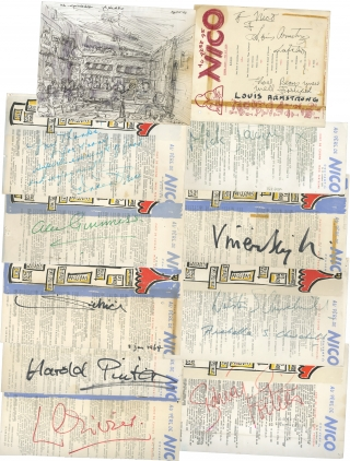 Two-decade run of signed menus from the Cafe Au Pere de Nico, Chelsea