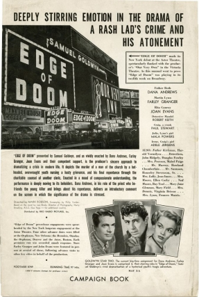 Edge of Doom (Original Film Pressbook). Leo Brady, novel, Mark Robson, director, screenwriters, starring, Philip Yordan, Robert Keith.