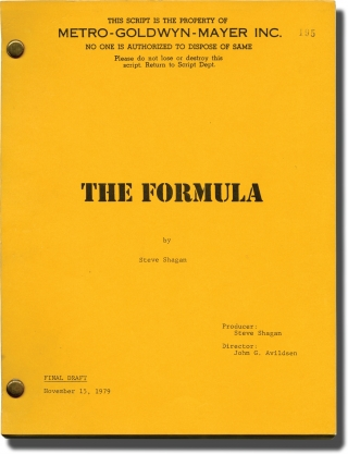 The Formula (Original screenplay for the 1980 film). John G. Avildsen, Steve Shagan, Marlon...