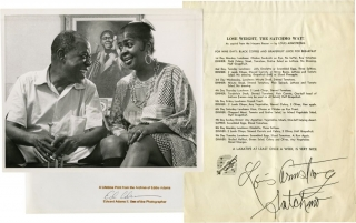 "Photograph of Louis Armstrong with trumpet and with his wife, Lucille together with ""Lose Weight..."