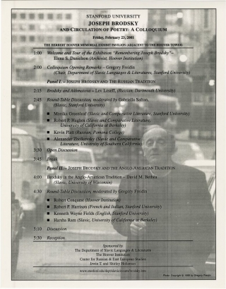 Stanford University: Joseph Brodsky - And Circulation of Poetry: A Colloquium (Original Poster)....