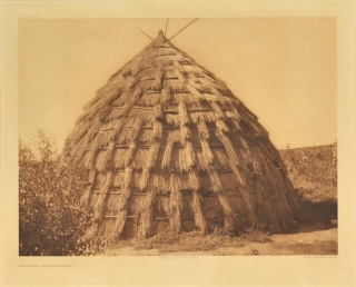 Wichita Grass-House (Original photogravure print). Edward S. Curtis, Sheriff.