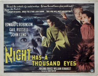 Night has a Thousand Eyes (Original poster for the 1948 film). Cornell Woolrich, John Farrow,...