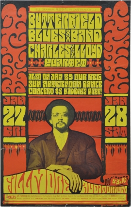 Butterfield Blues Band and the Charles Lloyd Quartet at Fillmore Auditorium (Original 1967 concert poster). Paul Butterfield Butterfield Blues Band, Charles Lloyd Quartet, Wes Wilson, Bill Graham, producer.