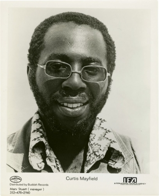 Original promotional photograph of Curtis Mayfield, circa 1970. Curtis Mayfield