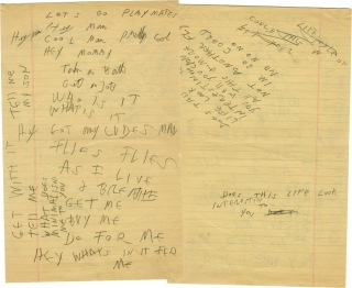Let's Go Playmates (Original manuscript). The Ramones, Joey Ramone