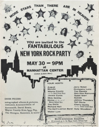 Fantabulous New York Rock Party, Manhattan Center in New York, May 30, 1976 (Original poster for the 1976 benefit concert). Wayne County Blondie, Holly Woodlawn, The Dolls, Mink DeVille, Divine.