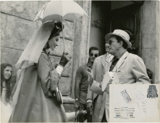 "Luchino Visconti and Rina Morelli on the set of ""The Leopard"""