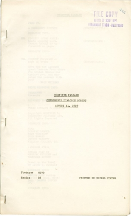 Disputed Passage (Censorship Dialogue script for the 1939 film). Frank Borzage, Sheridan Gibney Lloyd C. Douglas, Anthony Veiller, Akim Tamiroff Dorothy Lamour, John Howard, director, screenwriters, starring.