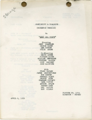 Away All Boats (Domestic Post-production script for the 1956 film). Joseph Pevney, Ted Sherdeman...