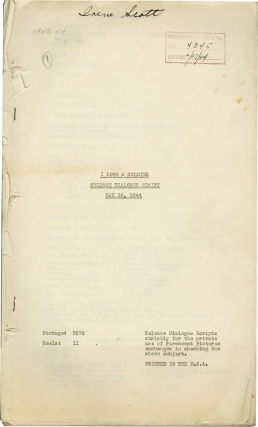I Love a Soldier (Post-production script for the 1944 film). Mark Sandrich, Allan Scott, Sonny...