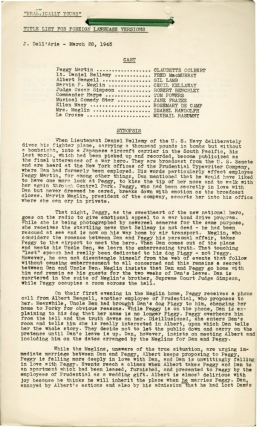 Practically Yours (Post-production script for the 1944 film). Mitchell Leisen, Norman Krasna,...