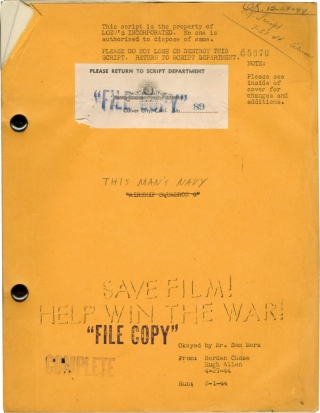 This Man's Navy (Original screenplay for the 1945 film). William A. Wellman, Borden Chase,...