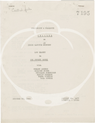 The Frozen Ghost (Post-production script for the 1945 film and the trailer). Harold Young, Luci...