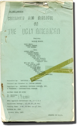 The Ugly American (Post-production script for the 1963 film). George Englund, Eugene Burdick William J. Lederer, Stewart Stern, Pat Hingle Marlon Brando, producer director, novel, screenwriter, starring.