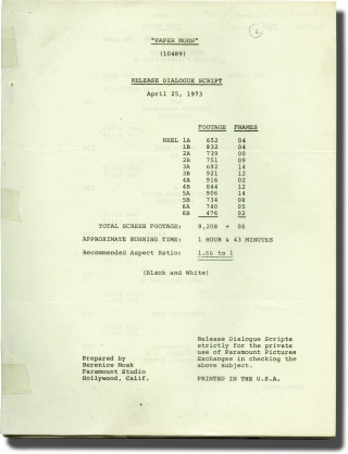 Paper Moon (Post-production script for the 1973 film). Peter Bogdanovich, Joe David Brown, Alvin Sargent, Madeline Kahn Ryan O'Neal, Tatum O'Neal, producer director, novel, screenwriter, starring.