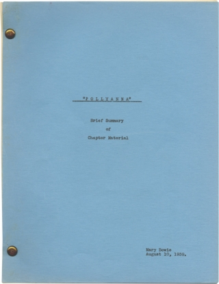 Pollyanna (Original screenplay for an unproduced film). Eleanor H. Porter, Mary Bowie, novel,...