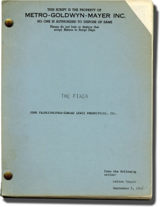 The Fixer (Original screenplay for the 1968 film). John Frankenheimer, Dalton Trumbo, Dirk...