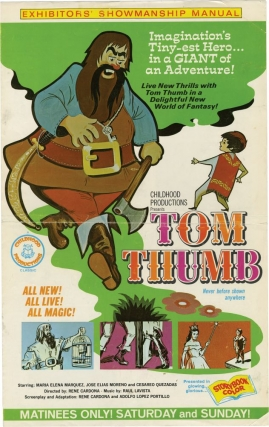 An archive of 3 pressbooks for foreign children's films made between 1957-1967, featuring Santa Claus, Pinocchio, and Tom Thumb