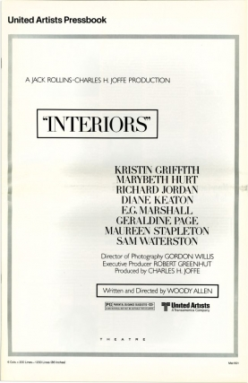 Interiors (Original Film Pressbook). Woody Allen, screenwriter director, Mary Beth Hurt Kristin Griffith, Diane Keaton, Richard Jordan, starring.