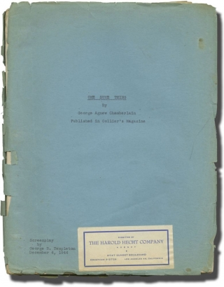 One Sure Thing (Original screenplay for an unproduced film). George B. Templeton, George Agnew...