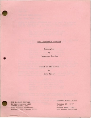 The Accidental Tourist (Original screenplay for the 1988 film). Lawrence Kasadan, Anne Tyler,...