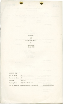 Notorious (Post-production script for the 1946 film). Alfred Hitchcock, Cary Grant Ben Hecht, Ingrid Bergman, director, screenwriter, starring.