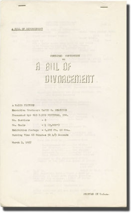 A Bill of Divorcement (Post-production script for the 1957 re-release of the 1932 film). George...