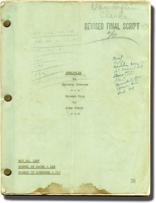 Annapolis Salute (Original screenplay for the 1937 film, Van Heflin's working copy). Christy...